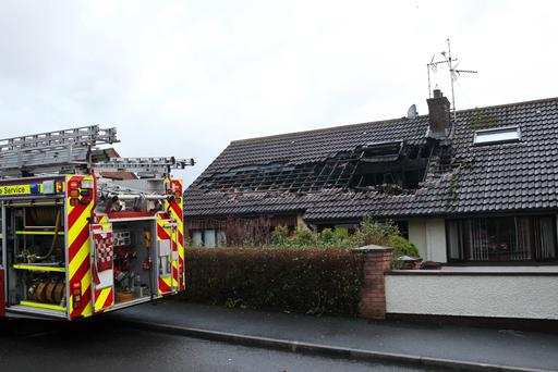 The scene of the house hit by a lightening strike last night in Kingsfield Avenue Downpatrick Pic Philip Walsh/Pacemaker