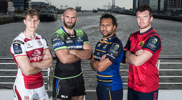 Leading men: (from left) Ulster captain Andrew Trimble, Connacht skipper John Muldoon, Leinster captain Isa Nacewa and Munster skipper Peter O'Mahony at the European Cup launch in Dublin