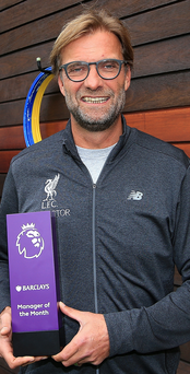 Top man: Jurgen Klopp with his Manager of the Month prize