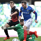 PACEMAKER BELFAST 15/10/2016 Linfield v Ballinamallard Danske Bank Premiership Linfield's Andrew Waterworth rounds the keeper as he scores during todays game at Windsor park in Belfast. Photo Charles McQuillan/Pacemaker Press