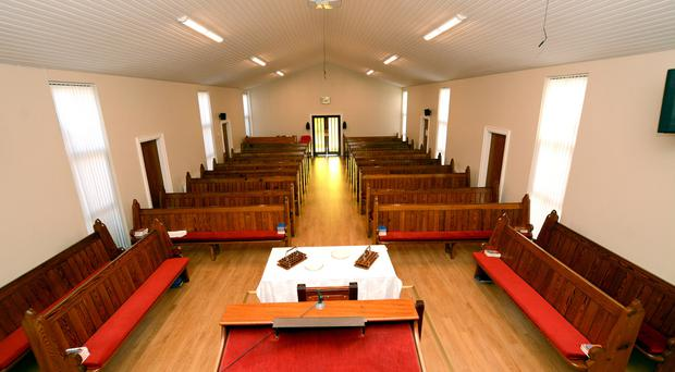 Members of Rathfriland Baptist Church attended the first service to be held there since the arson attack in May