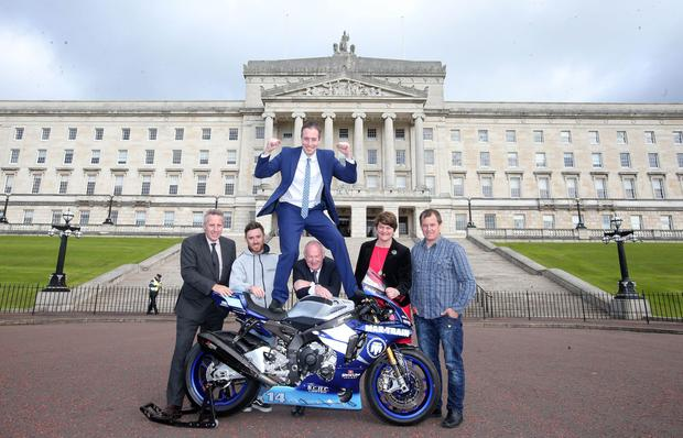 First Minister Arlene Foster helps launch the North West 200 Road Race which has just been granted money by the Northern Ireland Assembly Left to right. Ian Paisley MP, rider Lee Johnston, Communities Minister Paul Givan, North West 200 race director Mervyn Whyte, First Minister Arlene Foster and rider John McGuinness pictured at the front of Stormont. Picture by Jonathan Porter/Press Eye