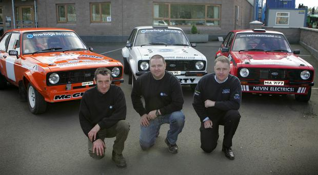 Rallying support: (from left) Eoin McGuckian and Eamon Doherty of sponsors RiverRidge Recycling with Glens of Antrim Rally clerk of the course William Carey from the Mid Antrim Club
