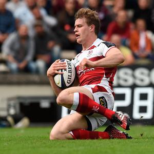 Going over: Andrew Trimble bags his try in the loss to Bordeaux