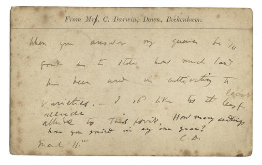 The postcard, sent by naturalist Charles Darwin