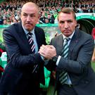 Raring to go: Mark Warburton and Brendan Rodgers will square off in the Betfred Cup semi after Celtic's 5-1 win last month
