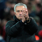 Manchester United manager Jose Mourinho applauds supporters after the final whistle