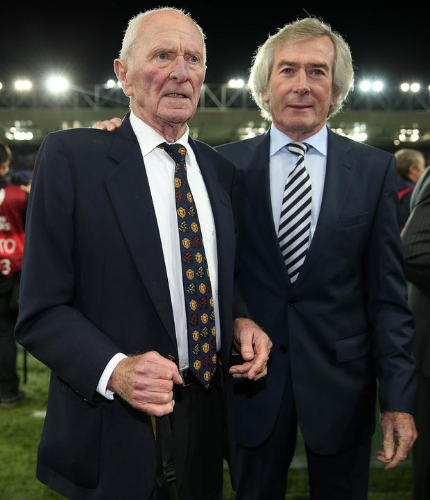 Greats: Harry Gregg and Pat Jennings at the official opening of Windsor Park. Pic: Brian Little/Press Eye.