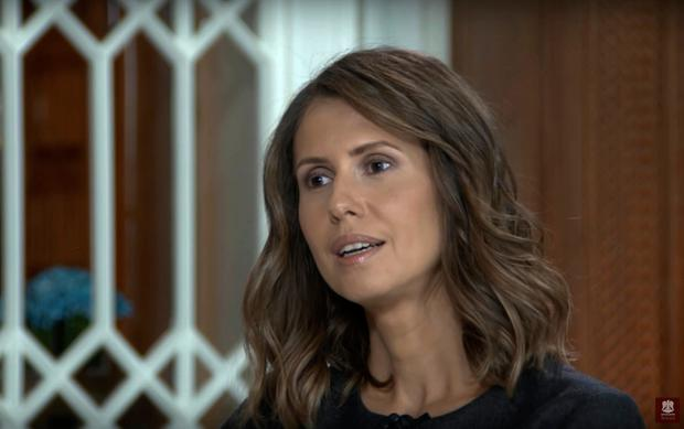 In this frame grab taken from a video released on Tuesday, Oct. 18, 2016 on the official Facebook page of the Syrian Presidency, Asma Assad, wife of the Syrian president Bashar Assad speaks during an interview with the Russia 24 TV channel in Damascus, Syria. (Syrian Presidency via Facebook)