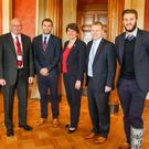 Big plans: (from left) Ulster player Chris Henry, Ulster Rugby CEO Shane Logan, Ulster's Darren Cave, First Minister Arlene Foster, Junior Minister Alastair Ross and Ulster's Stuart McCloskey in the Long Gallery at Parliament Buildings yesterday at the All Party Assembly Group On Rugby breakfast briefing. Photo: John Dickson/Dickson Digital