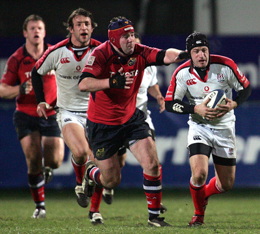 Memories: Anthony Foley gives chase to Ulster's David Humphreys at Ravenhill in the Celtic League in 2006