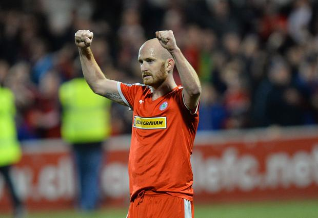Cliftonville's Ryan Catney celebrates during this evenings game at Solitude in Belfast. Photo Colm Lenaghan/Pacemaker Press