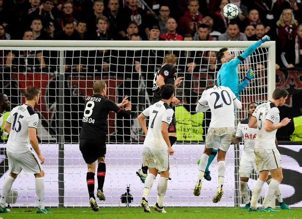 Hugo Lloris, goalkeeper of Tottenham makes a save during the UEFA Champions League group E match between Bayer 04 Leverkusen and Tottenham Hotspur FC at BayArena on October 18, 2016 in Leverkusen, North Rhine-Westphalia. (Photo by Matthias Hangst/Bongarts/Getty Images)