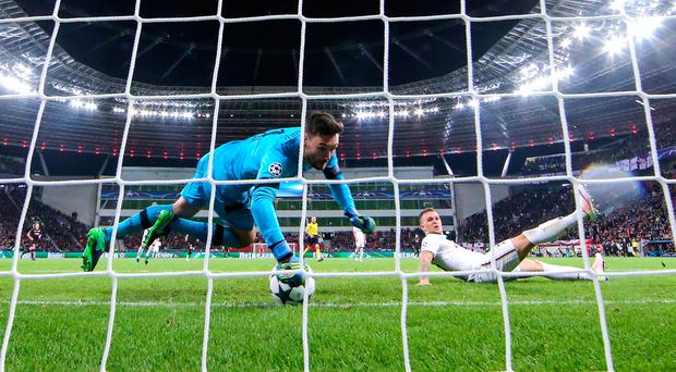 Hugo Lloris of Tottenham saves a shot from Chicharito (not pictured) during the UEFA Champions League match between Bayer 04 Leverkusen and Tottenham Hotspur FC at BayArena on October 18, 2016 in Leverkusen, North Rhine-Westphalia. (Photo by Simon Hofmann/Bongarts/Getty Images)