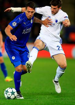 Leicester City's Leonardo Ulloa (left) and FC Copenhagen's Andrija Pavlovic battle for the ball at the King Power Stadium. Photo: Mike Egerton/PA