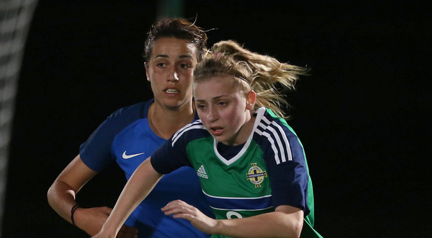 Northern Ireland's Rebecca Bassett in action with France. Photo: Matt Mackey/Press Eye