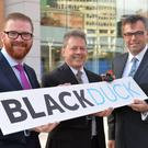 Economy Minister Simon Hamilton MLA along with Lou Shipley President & CEO Black Duck Software and Alastair Hamilton Invest NI CEO announce Massachusetts-based Black Duck Software is to open a new open source security research group, based in Belfast creating 58 new jobs. photo by Aaron McCracken/Harrisons