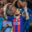 BARCELONA, SPAIN - OCTOBER 19: Lionel Messi of Barcelona celebrates scoring the opening goal of the game during the UEFA Champions League group C match between FC Barcelona and Manchester City FC at Camp Nou on October 19, 2016 in Barcelona, Spain. (Photo by David Ramos/Getty Images)