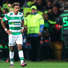 All over now: A dejected Scott Sinclair after Celtic go 2-0 down against Borussia Monchengladbach at Parkhead last night
