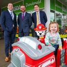 Economy Minister Hamilton Simon Hamilton, Brian McAreavey, Commercial Director for Clearhill and John McAreavey, Financial Director for Clearhill and trying out one of the rides is Mia Conlan. Picture Brian Thompson Photography