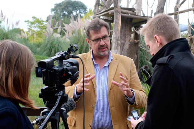 ZSL's zoological director Professor David Field speaks to the media following the