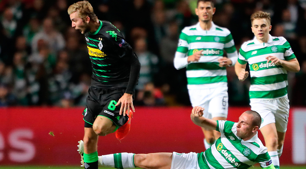 Ready for Gers: Scott Brown in action during this week's Champions League game against Borussia Monchengladbach