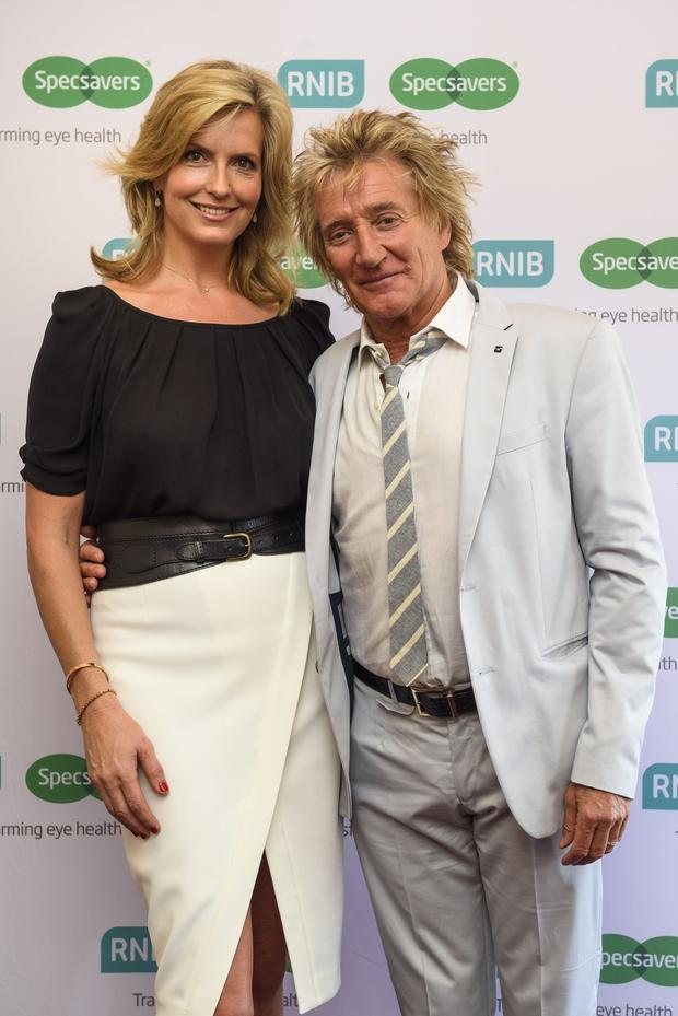Sir Rod Stewart with his wife, Penny Lancaster