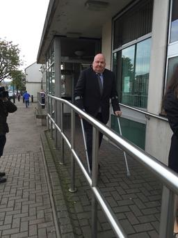 GP Dr Thomas Egerton leaving Newtownards Magistrates Court where he was charged and ordered to stand trial accused of abusing his position as a doctor to obtain massive amounts of painkillers and sedatives for himself.