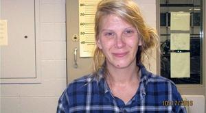 Christina Ferguson was arrested in Amherst Junction, Wisconsin on Monday 17 October after allegedly smearing cars with peanut butter in an anti-Trump protest. Image: Portage Co. Jail