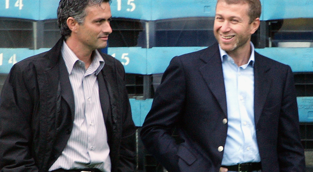 Old pals act: Jose Mourinho (left) with Chelsea owner Roman Abramovich back in 2004