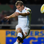 For kicks: Gareth Steenson kicks a penalty for Exeter