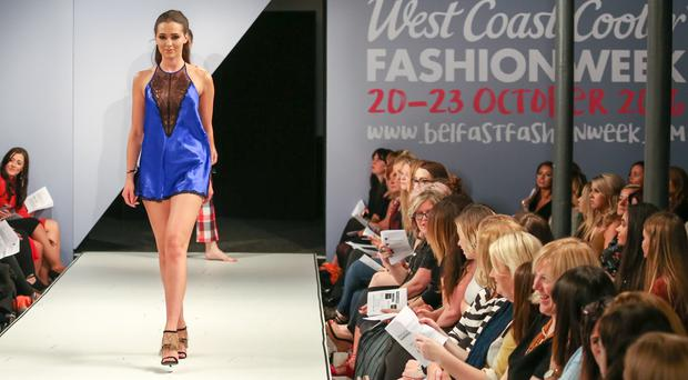 West Coast Cooler Fashion Week. Pictured: Rebecca in Alexis from Boux Avenue. Picture: Philip Magowan / PressEye (21st October 2016)