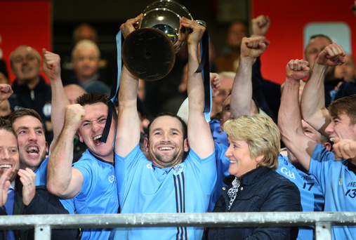 Silver lining: Martin Swift kicks off the Killyclogher celebrations