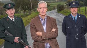 Actors Vincent Higgins (left) and James Doran with playwright Laurence McKeown (centre) in a publicity picture
