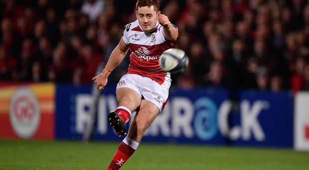 BELFAST, NORTHERN IRELAND - OCTOBER 22: Paddy Jackson of Ulster kicks a penalty during the Champions Cup Pool 5 game between Ulster Rugby and Exeter Chiefs at Kingspan Stadium on October 22, 2016 in Belfast, Northern Ireland. (Photo by Charles McQuillan/Getty Images)