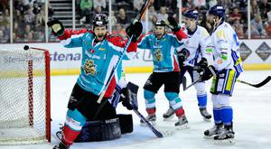 Press Eye - Belfast - Northern Ireland - 22nd October 2016 - Photo by William Cherry Belfast Giants Jim Vandermeer celebrates scoring against Coventry during Saturday nights Elite Ice Hockey League game at the SSE Arena, Belfast. Photo by William Cherry/Presseye