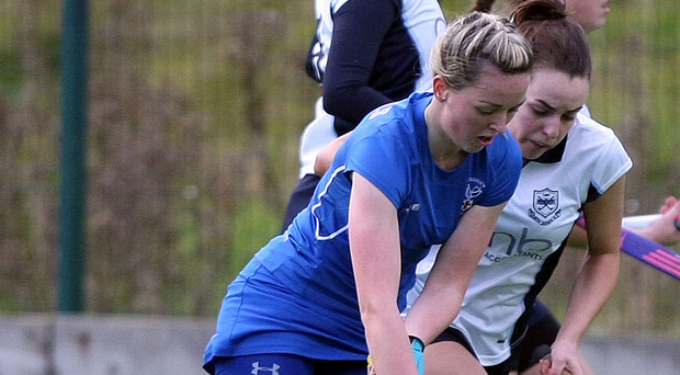 On the ball: Portadown's Leanne Cassells (left) and North Down's Laura Clarke