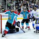 Pick it out: Giants' Jim Vandermeer after scoring against Coventry at the SSE Arena