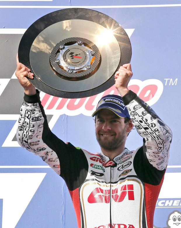 Number one: Cal Crutchlow celebrates his Australian success