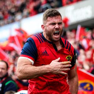 Emotional win: Munster's Jaco Taute celebrates scoring a try