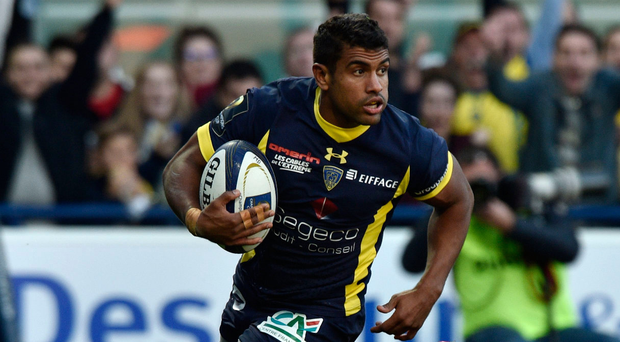 Damage done: Clermont's French centre Wesley Fofana scores a try