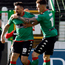 Account opener: Nacho Novo celebrates his first Glentoran strike with Chris Lavery
