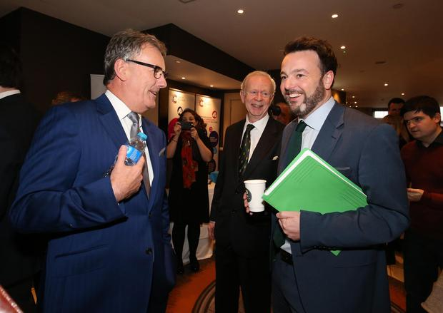 The UUP's Mike Nesbitt and Sir Reg Empey chat with SDLP leader Colum Eastwood