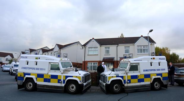 Police, ATO and dorensic officers at the scene in the Foxes Glen area of west Belfast on October 24th 2016, Northern Ireland (Photo by Kevin Scott / Belfast Telegraph)