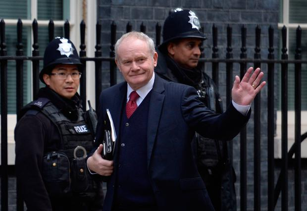 Deputy First Minister of Northern Ireland Martin McGuinness arrives at Downing Street in London for a Joint Ministerial Council meeting. PA