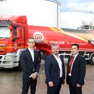 Danske Bank's Ciaran McLaughlin with LCC's Dan Loughran and Michael O Loughran at its oil terminal at Foyle Port in Lisahally