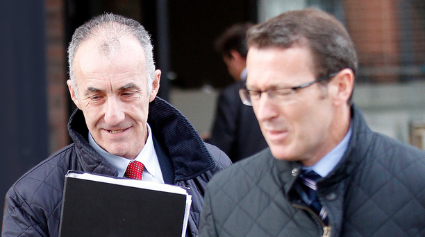 Geoff Ferris leaves court with Conor McStravick