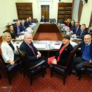 First Minister, Arlene Foster, deputy First Minister, Martin McGuinness, Health Minister, Michelle O'Neill and Professor, Rafael Bengoa pictured at an Executive meeting held in Parliament Buildings. Photo by Kelvin Boyes / Press Eye