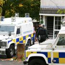 Police search a property in the Divismore Park area of west Belfast in relation to Dissident republican activity on October 25th 2016, Northern Ireland (Photo by Kevin Scott / Belfast Telegraph)