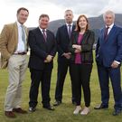 From left: David Gavaghan, Aurora Prime Real Estate; Peter Burnside, BDO; Gavin Kennedy, Bank of Ireland UK; CBI director Angela McGowan; and Colin Walsh, Crescent Capital
